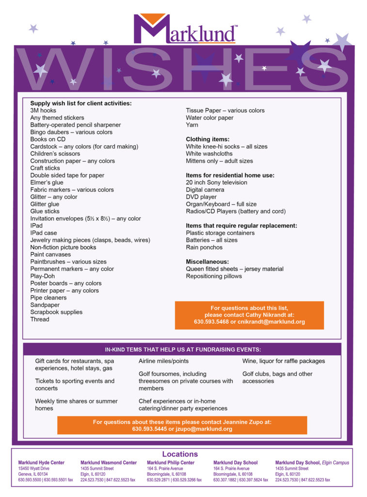 We Ve Compiled A Wish List Of Items That Will Be Useful To All Clients At Our Sites See Below